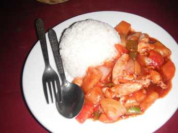 Sweet and sour chicken in Vang Vieng, Laos.