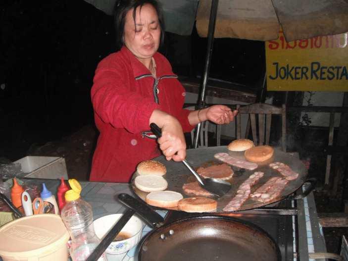 Hamburger in Vang Vieng, Laos.