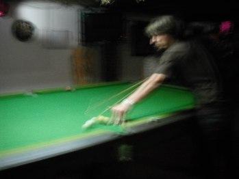 Playing pool in Vang Vieng, Laos.