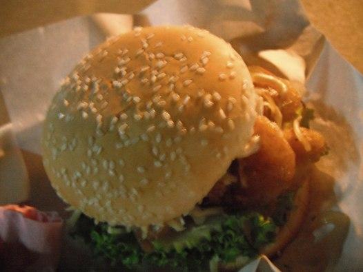 Chicken burger in Vang Vieng, Laos.