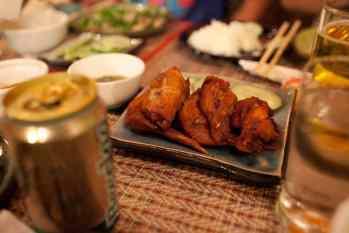Buffalo wings in Vientiane, Laos.