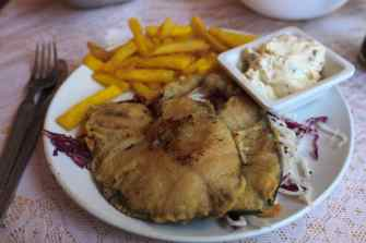 Fish and chips in Anjuna, Goa, India.