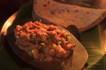 Coconut curry in Hampi, India.