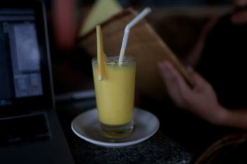 Pineapple juice and cream cheese sandwich in Kovalam, India.