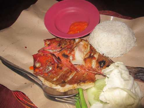 Grilled red snapper in Gili Trawangan.
