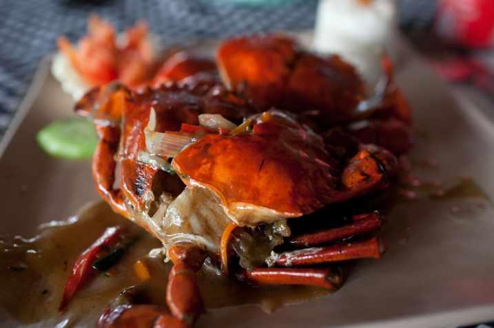Kepiting Sauce Tiram (crab in oyster sauce) in Kuta, Bali.