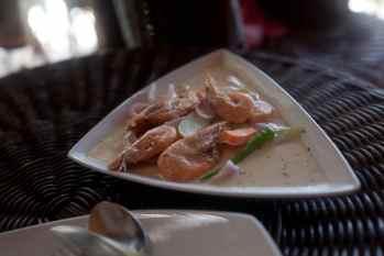 Shrimp in coconut sauce in El Nido, Philippines.
