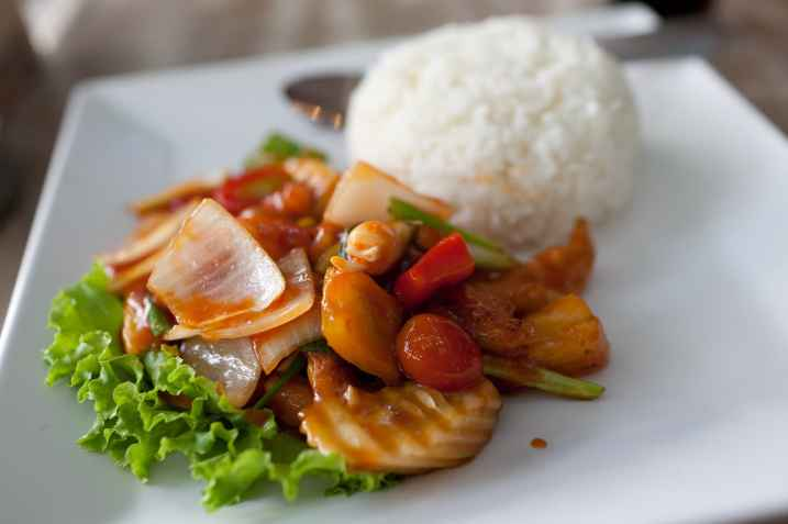Sweet and Sour Chicken in Bangkok, Thailand.