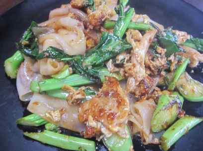 Chicken pad see ew in Chiang Mai, Thailand.