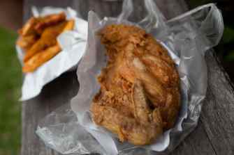 Fried chicken in Chiang Mai, Thailand.
