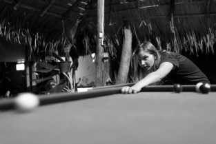 Playing Pool at Deejai Backpackers in Chiang Mai, Thailand
