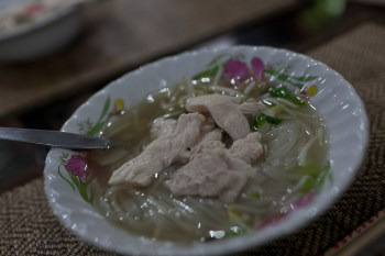 Chicken soup in Chiang Mai, Thailand.