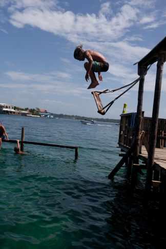 Water swing in Bocas del Toro, Panama.
