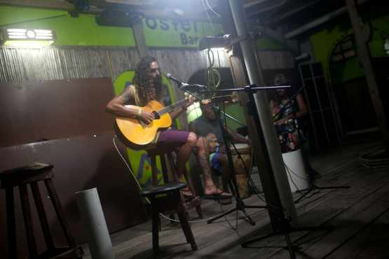 Open mic night at Aqua Lounge in Bocas del Toro, Panama.