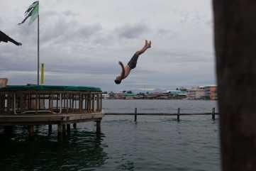 Water trampoline in Bocas del Toro, Panama.
