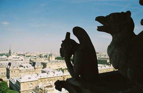 Gargoyles on top of Notre Dame in Paris, France