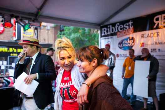 Miki Sudo and Michelle Lesco await the results - RibMania Ribs Eating Contest in Chicago