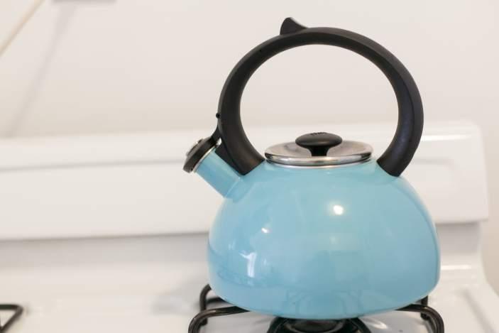 Teal tea kettle.