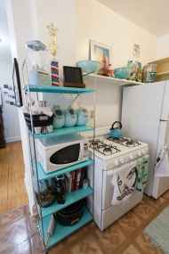 Teal shelving full of teal kitchen things.
