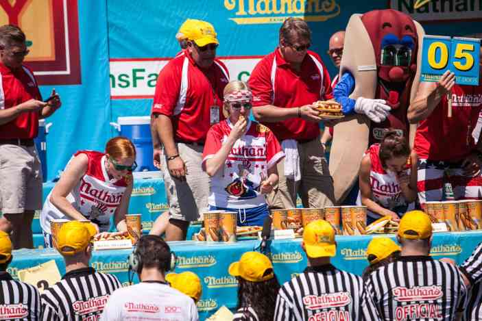 Meredith Boxberger eats at the 2016 Nathan's Famous hot dog eating contest at Coney Island.