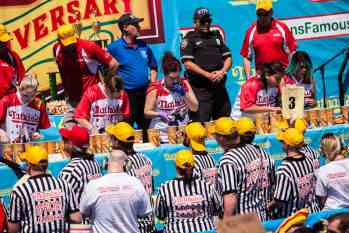 Larelle Marie Mele eats at the 2016 Nathan's Famous hot dog eating contest at Coney Island.