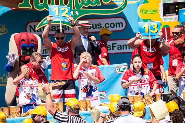 Miki Sudo eats at the 2016 Nathan's Famous hot dog eating contest at Coney Island.