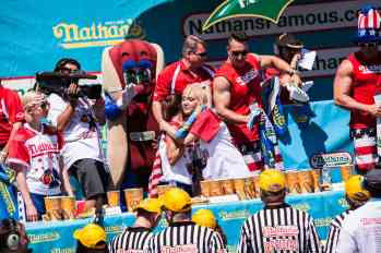Michelle Lesco and Miki Sudo at the 2016 Nathan's Famous hot dog eating contest at Coney Island.