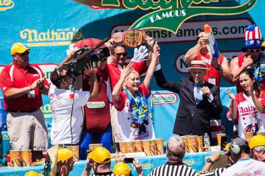 Miki Sudo wins the 2016 Nathan's Famous hot dog eating contest at Coney Island.