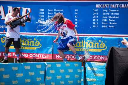 Crazy Legs Conti at the 2016 Nathan's Famous hot dog eating contest at Coney Island.