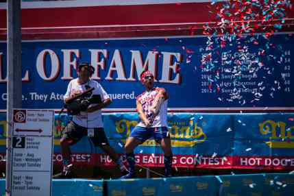 Juan 'More Bite' Rodriguez at the 2016 Nathan's Famous hot dog eating contest at Coney Island.