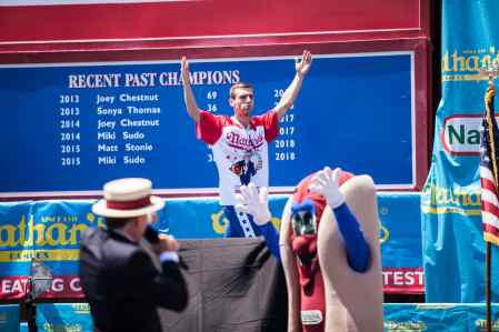 Carmen Cincotti at the 2016 Nathan's Famous hot dog eating contest at Coney Island.