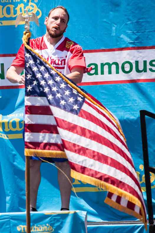 Eight time champion Joey Chestnut looking to regain the mustard yellow belt at win Nathan's.