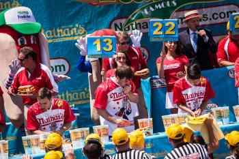 Adrian Morgan eats at the 2016 Nathan's Famous hot dog eating contest at Coney Island.