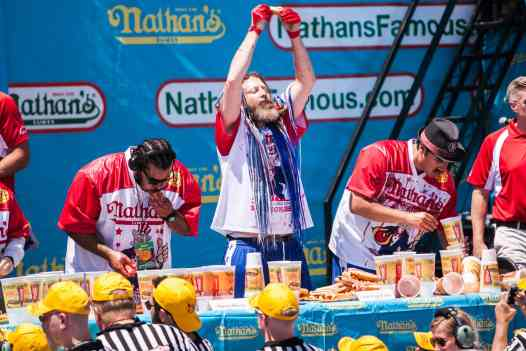 Crazy Legs Conti finds the one perfect hot dog at the 2016 Nathan's Famous hot dog eating contest at Coney Island.