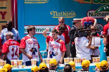 Carmen Cincotti comes in third place at the 2016 Nathan's Famous hot dog eating contest at Coney Island.