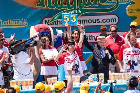 Matt Stonie comes in second place at the 2016 Nathan's Famous hot dog eating contest at Coney Island.
