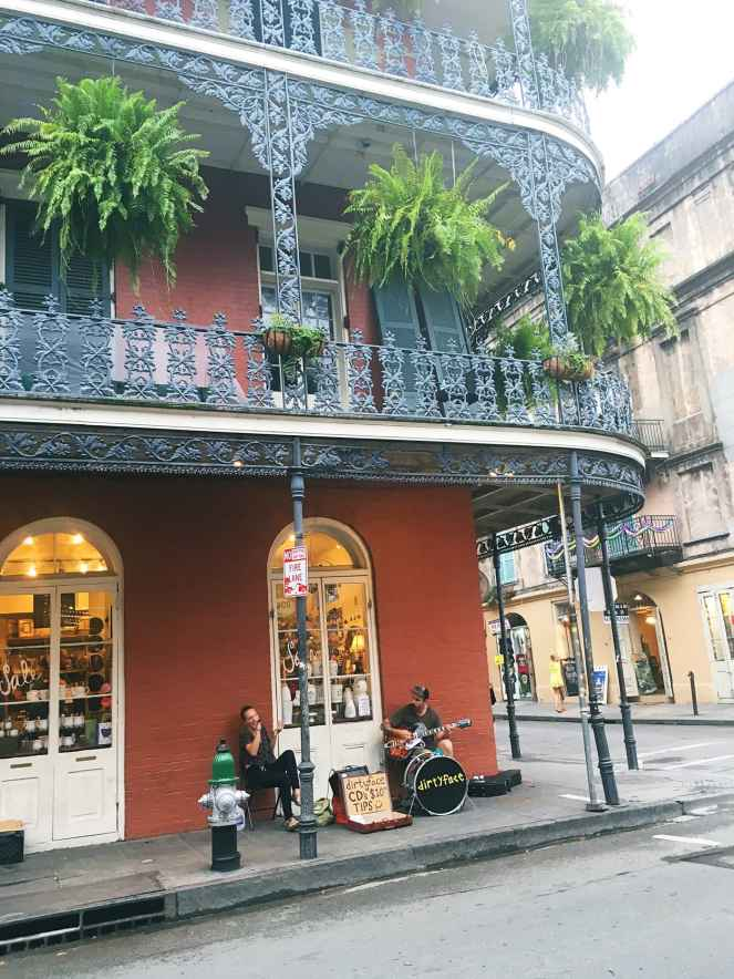 A band playing in the French Quarter in New Orleans.
