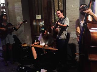Bar crawl on Frenchmen Street in New Orleans.