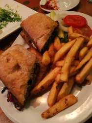 Hot turkey meatloaf sandwich at 13 Coins restaurant in Seattle, Washington.