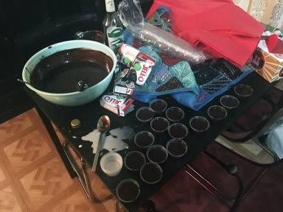Making peppermint mocha pudding shots at 2am.