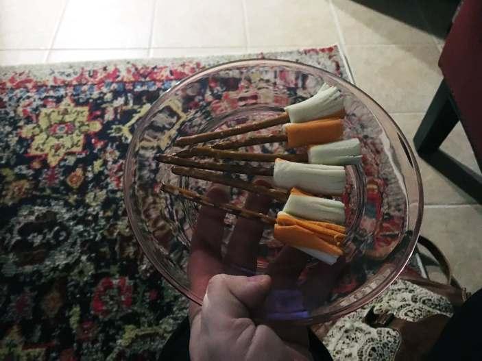 Harry Potter Marathon - Broom-shaped cheese and pretzel sticks