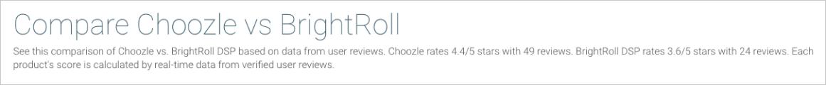 Choozle vs. Brightroll Comparison Header Description