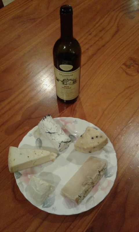 Local cheeses and La Cantina wine