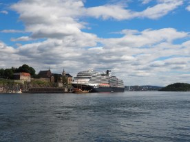Cruise Ship next to Akershus Fortress