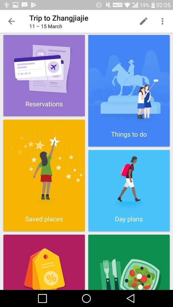 Google Trips main menu