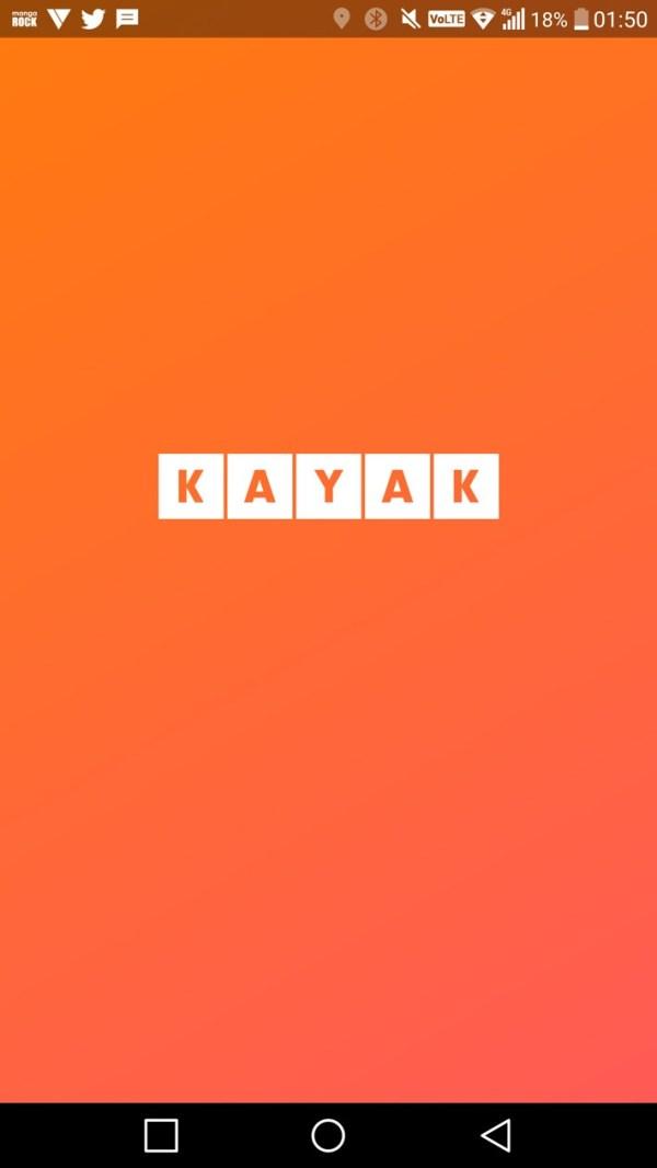 kayak home screen