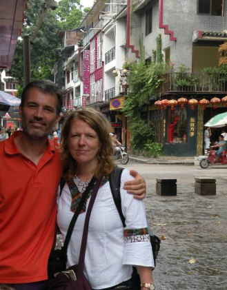 in the tourist trap district of Yangshuo