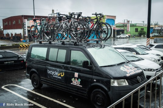 While we were on the train, the support vehicle carried our bikes to the south.