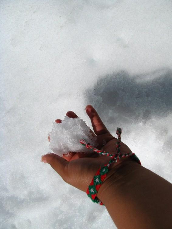 La primera vez que tocaba la nieve