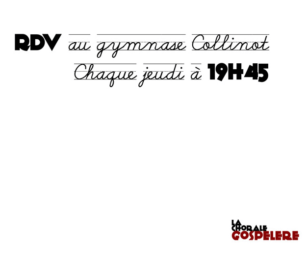 Les répétitions ont toujours lieu dans la salle du Gymnase Collinot, rue des Douves, à Poitiers, chaque jeudi de 19h45 à 21h15 avec Baptiste notre nouveau chef de choeur (arrêt de bus « Madeleine » sur l'av. de la Libération).